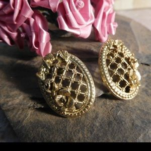 Oval Floral Rose Lattice Gold Tone Earrings